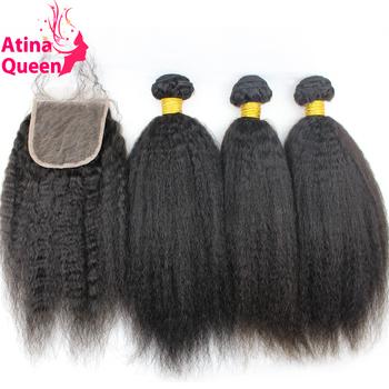 Peruvian Virgin Afro Kinky Straight Coarse Yaki Human Hair Weave with Closure Italian Light Yaky Hair Bundles with Lace Closures