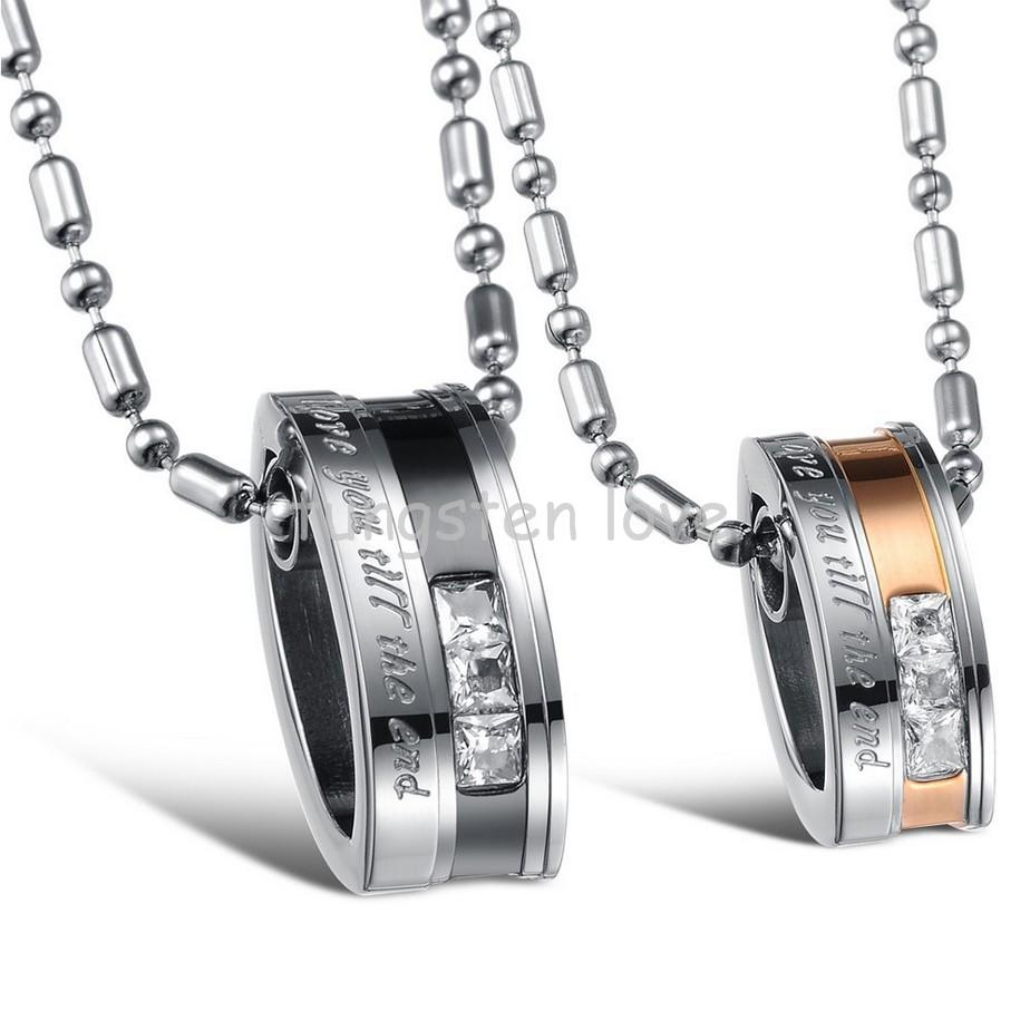 "1 Piece Fashion His or Hers Stainless Steel ""Love You Till the End"" Round Pendant Necklaces Lovers Couples Jewelry(China (Mainland))"