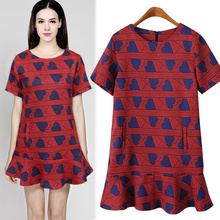 Love heart loose 2015 print ruffle short-sleeve dress vestido de festa infantil costumes red royal baroque print one-piece dress