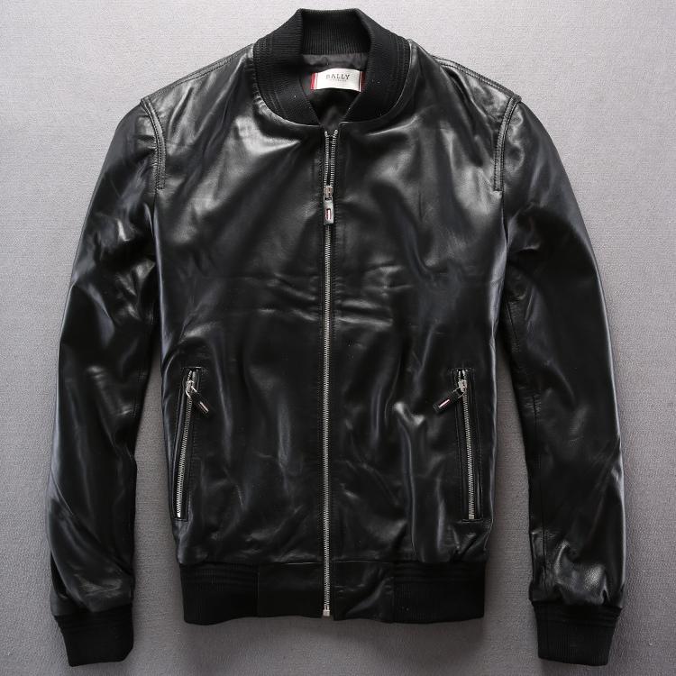 2015 Leisure sport style leather baseball uniform collar ultra soft sheepskin leather jacket  T1242Одежда и ак�е��уары<br><br><br>Aliexpress