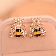 Fashion Trendy Personality Earring Cute Lovely Insect  Bee Crystal Stud Earrings for Women Girls Gold Plated Jewelry Ear Studs