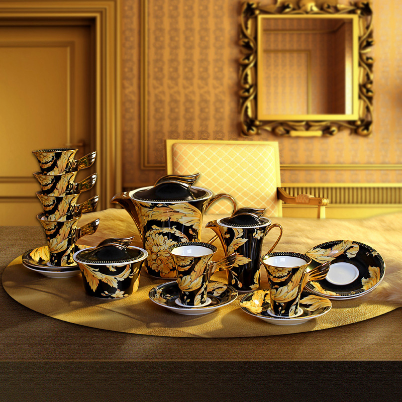 coffee tea set drinkware European high end fashion ceramic bone china tea sets Coffee cup kit