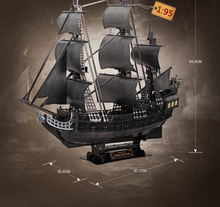 3D DIY paper model kits toy child puzzle toys  the Queen Anne's revenge Black Pearl Pirates of Caribbean boat ship model kit(China (Mainland))