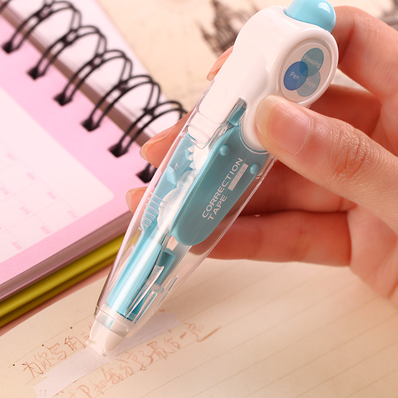 Kawaii Cute Correct Correction Tape Pens Blue Green Korea Kids School Office Supplies Korean Stationery Novelty For Student(China (Mainland))