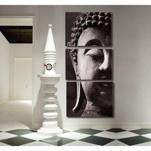 3pcs Abstract Hand-painted Oil Painting Set Decoration Buddha Canvas Print for Bedroom Office Home Living Room Art Picture(China (Mainland))
