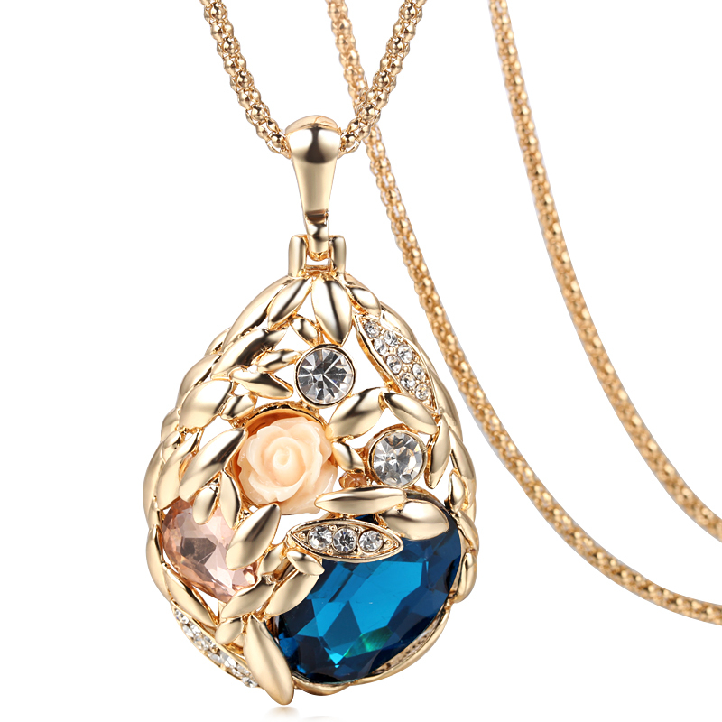 2015 Brand Long Necklace Gold Plated Popcorn Chain Austrian Crystal Jewelry Pendant Necklaces Women Gift Rose Flower Necklace