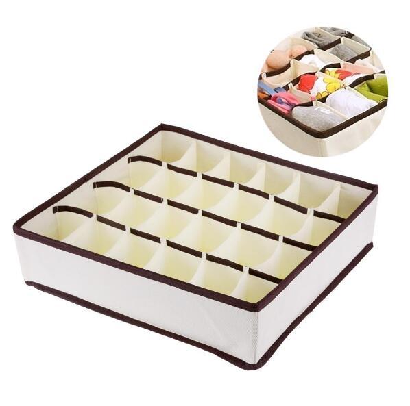 24 Grid Foldable Drawer Divider Storage Bra Box Makeup Organizer Closet Necktie Underwear Socks Home Storage Container Non-Woven(China (Mainland))