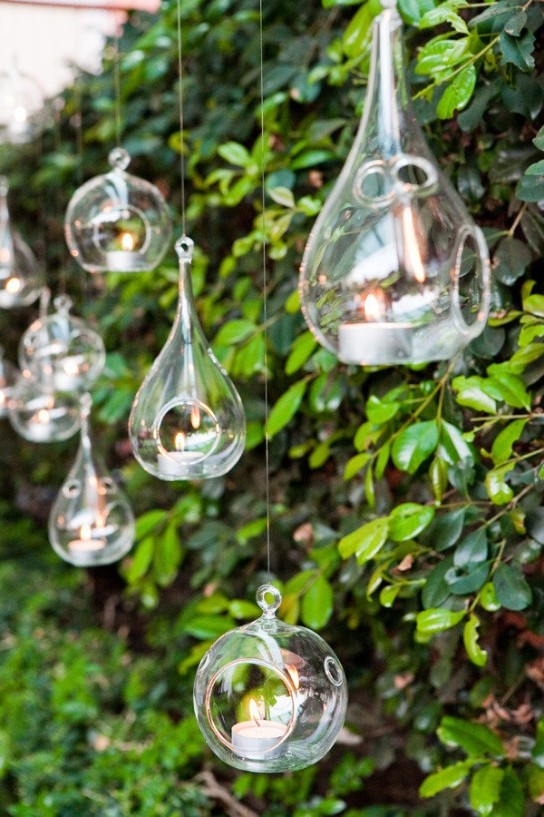 8pcs Set Glass Ball Hanging Candle Holders 9cmx19cm
