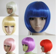 Fashion 13 Colors Cheap Festival Party Carnival Wigs Synthetic Hair Halloween Cosplay Wig Student Hair(China (Mainland))