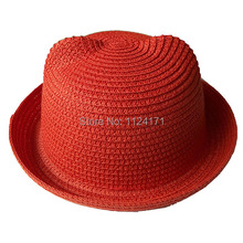 2015 Fashion Straw Hats Summer Baby Ear Decoration Lovely Child Character Girls And Boys Sun Hat