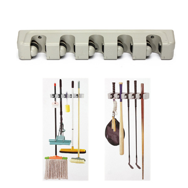 Best Promotion Kitchen Wall Mounted Hanger Storage Rack 5 Position Kitchen Mop Brush Broom Organizer Holder Tool(China (Mainland))