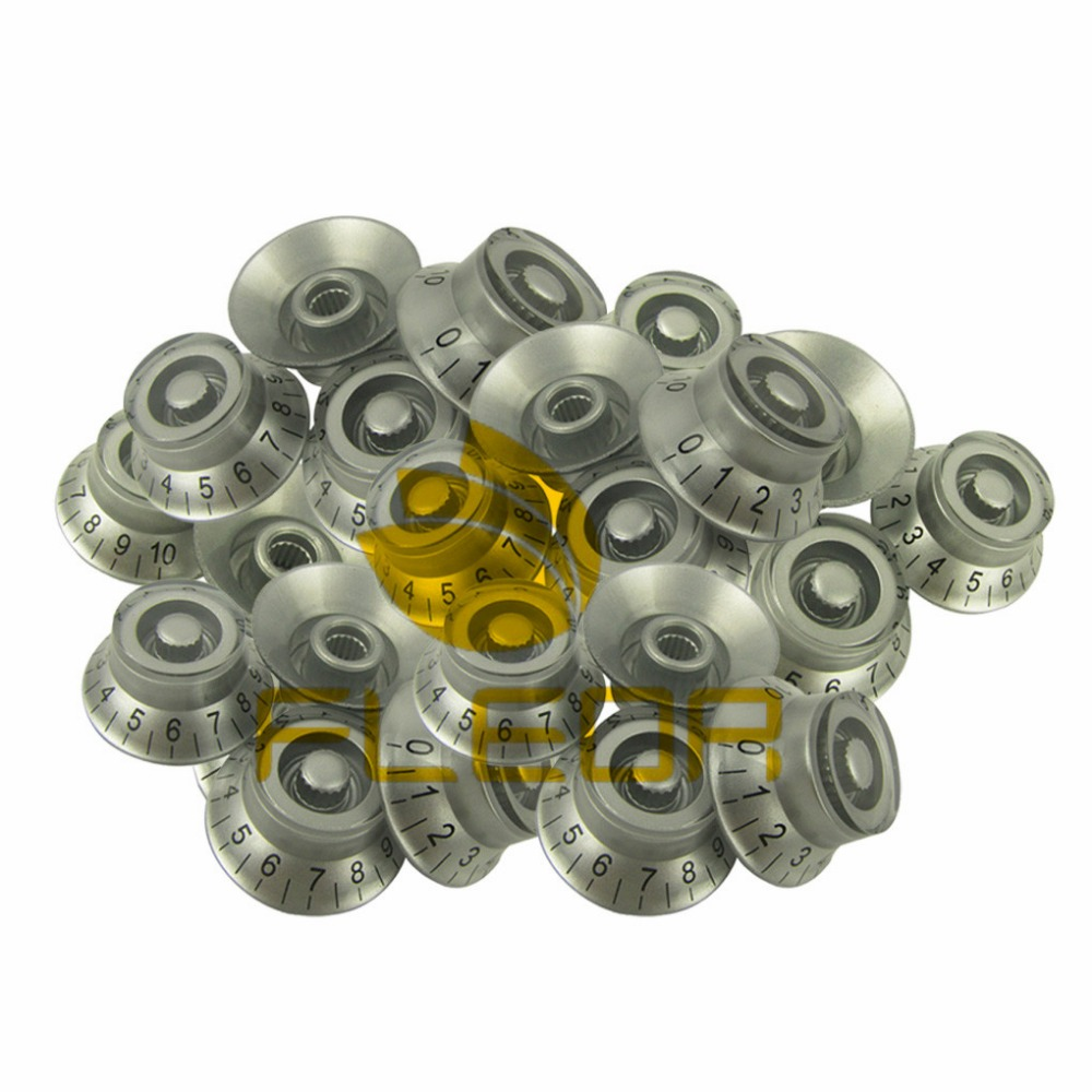 NEW 20pcs Silver Guitar Speed Control Knobs Numerals for LP Electric Guitar Part(China (Mainland))