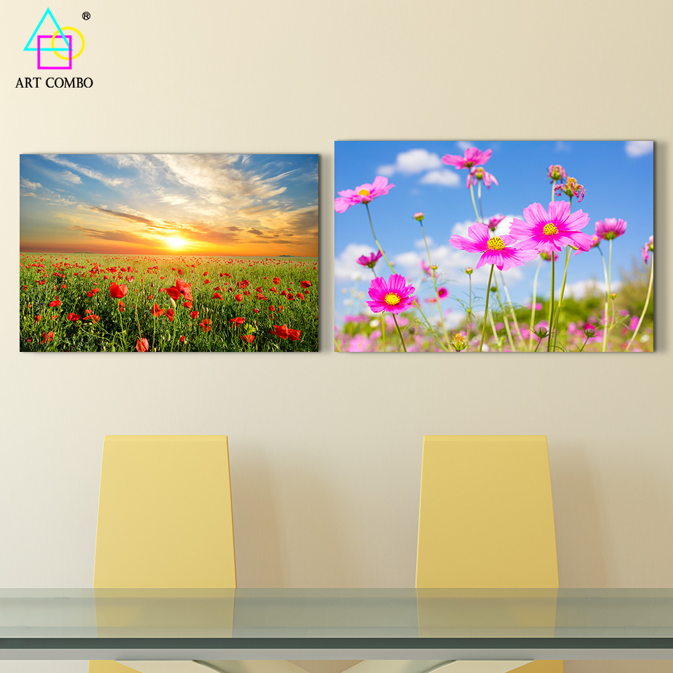 Frameless Modern Canvas Painting Beautiful Landscape Swing Flowers Under Blue Sky Home Wall Decoration Picture ART COMBO BG020(China (Mainland))
