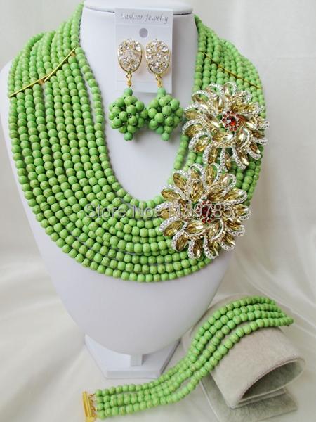Fashion Nigerian African Wedding Beads Jewelry Set , Stone Necklace Bracelet Earrings Set A-8296<br><br>Aliexpress