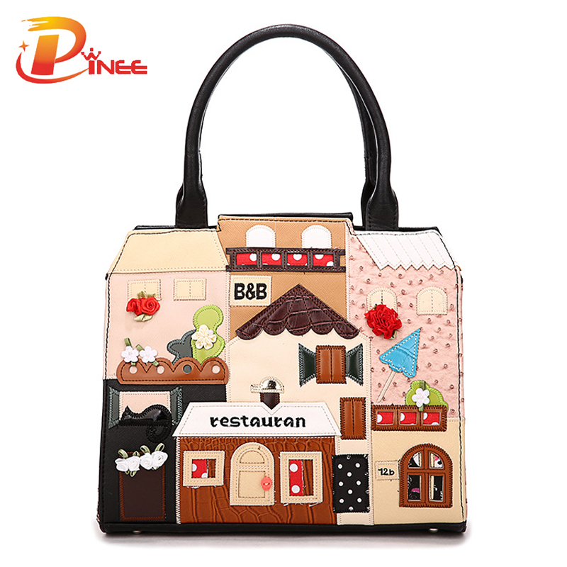 High Quality Casual Handbag Ladies PU Leather Cube Bag Cartoon Crossbody Bags Women Handbags Famous Brands(China (Mainland))