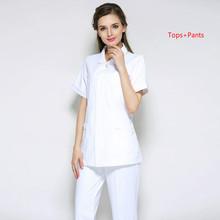 Одежда медсестры белый лабораторный халат короткий рукав топы корректирующие брюки для девочек аптека стол красота салон больницы спецоде...(China)