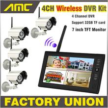 Nouveau 7 polegada moniteur sans fil CCTV Kit 2.4 GHz 4CH canal CCTV DVR 4 PCS caméras sans fil Audio Night Vision Home Security système(China (Mainland))