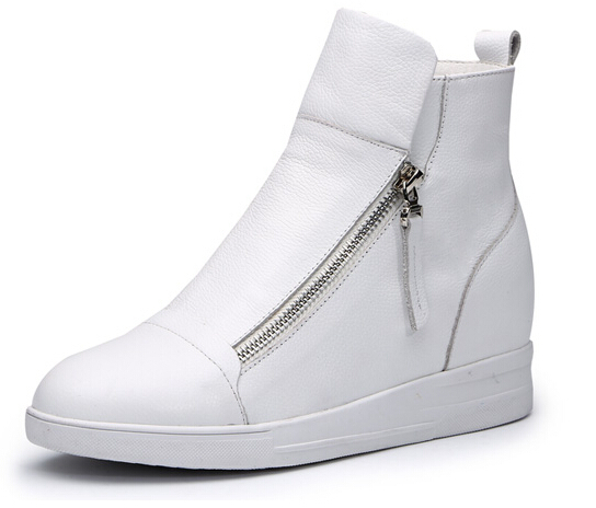 2015 spring genuine leather high-top shoes women invisible zipper sneaker women elevator shoes 4 colors
