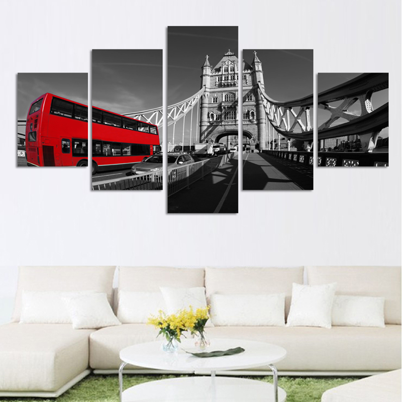 5 Piece Canvas Painting Print on Canvas Wall Art London Bus Landscape Picture Home Decor for Modular Painting(Unframed)(China (Mainland))