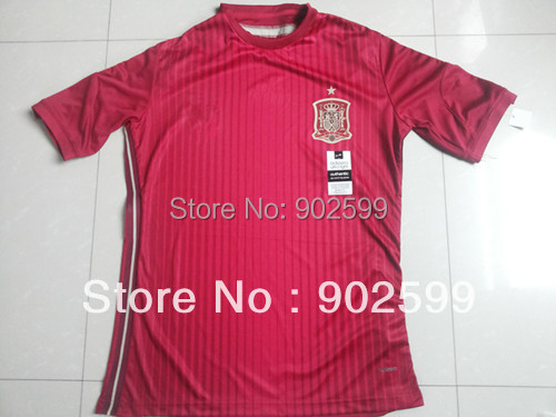 New arrival 2014 season spain home red best quality player version soccer football jersey, spain National team jersey(China (Mainland))
