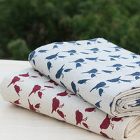 50x140cm RED AND BLUE bird printed cotton linen Fabric Burlap for Sewing Textile Quilting Diy for pillow curtain Purse