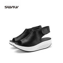 Pure Color Summer Sandals 2017 Outdoor Platform Shoes For Women 35-40 Plus Size Fish Head Shoes Leather More Colors Footwear(China (Mainland))