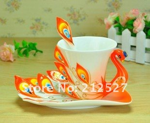 Free Shipping Chinese Ceramic Enamel Porcelain Peacock Coffee Mug Lovers Cup & Saucer Spoon Christmas Wedding Ideas Gift Orange(China (Mainland))