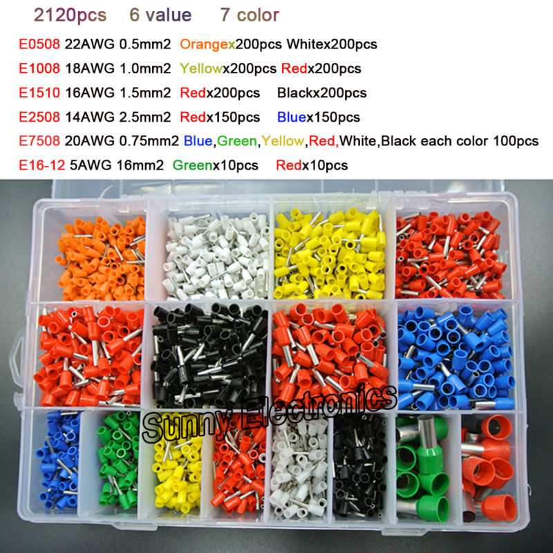 7 color 6 value 2120pcs/lot Bootlace cooper Ferrules kit set Wire Copper Crimp Connector Insulated Cord Pin End Terminal(China (Mainland))
