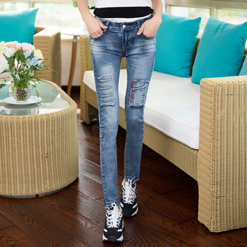2015 100% Cotton Mid Waist Super Skinny Jeans Women Fashion Washes Deinm Pencil Slim Capris Pants L688 - Hello madam store