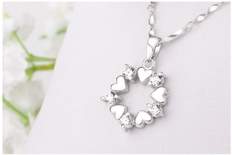 Natural Stone Pendants Heart Love Shape European Flower Bohemian Crystal Necklace Sterling-Silver-Jewelry Natural Stone Pendants