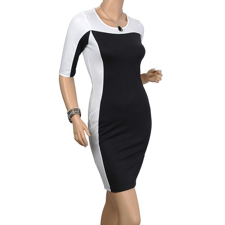 плюс размер 3xl черный белый пэчворк краткий элегантный bodycon платье новейшие женские Хай стрит летом партии карандаш платье a575
