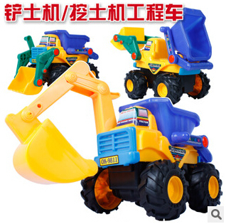 New baby toys large backhoe mining shovel excavator truck classic kids construction vehicles educational juguetes gift for kids(China (Mainland))