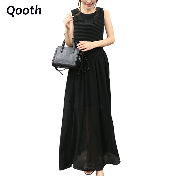 2016 New Women's Fashion Summer Dress A line Slim High Quality Chiffon Dress Ankle Length Tank Dress Black White DN138(China (Mainland))