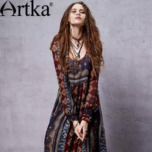 Artka Women's Bohemian Deep O-Neck Drawstring Cinched Waist Frilled Swing Long Sleeve Light Chiffon Dress LA14356C(China (Mainland))