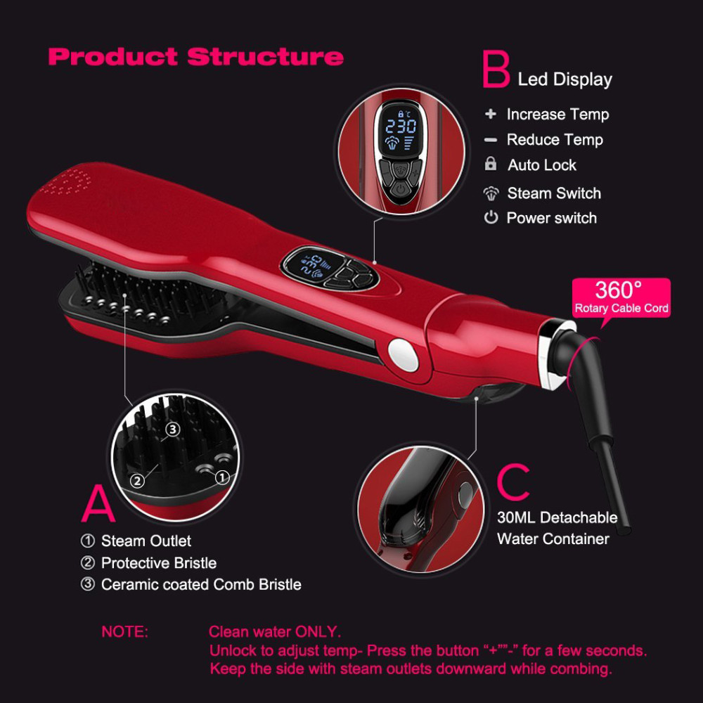 STEAM BRUSH HAIR STRAIGHTENER RED(6)