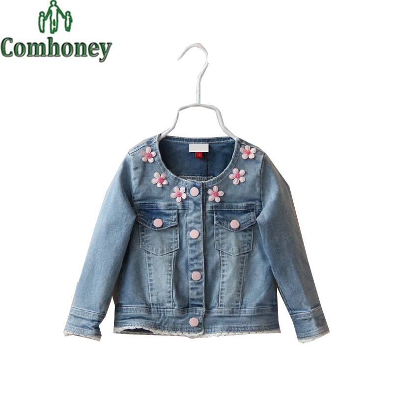 Girls Denim Jacket Spring Autumn Jean Jacket for Baby Gir Infant Coat Floral Kid Child Outwear Childrens Toddler Cowboy Jackets(China (Mainland))