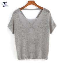 Women Knitted Pullover Famous Brand Tops Vintage Autumn Casual Solid Grey Short Sleeve Round Neck Backless Knit Loose Sweater(China (Mainland))