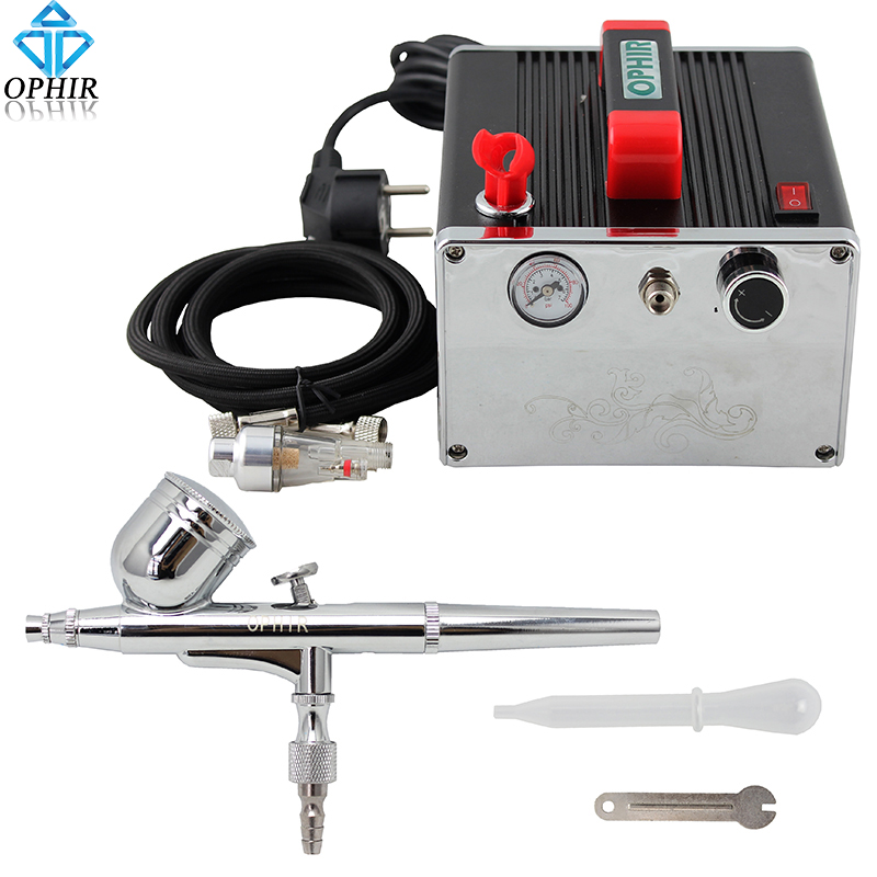 Фотография OPHIR Cake Decorating Airbrush Kit 0.3 mm Dual-Action Airbrush with Air Compressor for Eyebrow Pencil Makeup Nail Art_AC091+004A