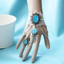 Top Selling Bride Wedding White Lace Flower Finger Bracelet Bangle Gentlewomen Bracelets Lolita Women Costume Jewelry(China (Mainland))