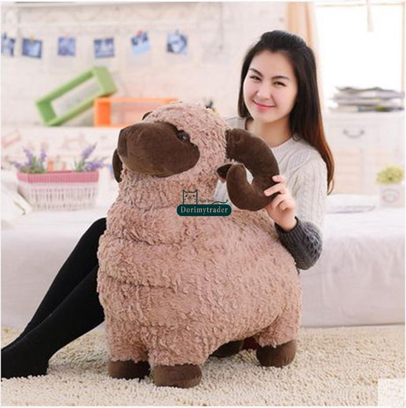 Dorimytrader 60cm Big Animal Sheep Stuffed Toy Soft Cute Goat Plush Pillow Kids Play Doll Baby Present DY61376(China (Mainland))