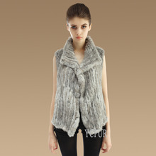 2015 Fashion Ladies Vests Winter 6 Colors Handmade Knitted Natural Rabbit Fur Vest Women Fur Waistcoat Winter