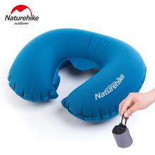 Naturehike New U Shape Inflatable Memory  Neck Pillow Massage Protect Headrest Car Flight Travel Pillow Soft Cushion Blue Brown(China (Mainland))