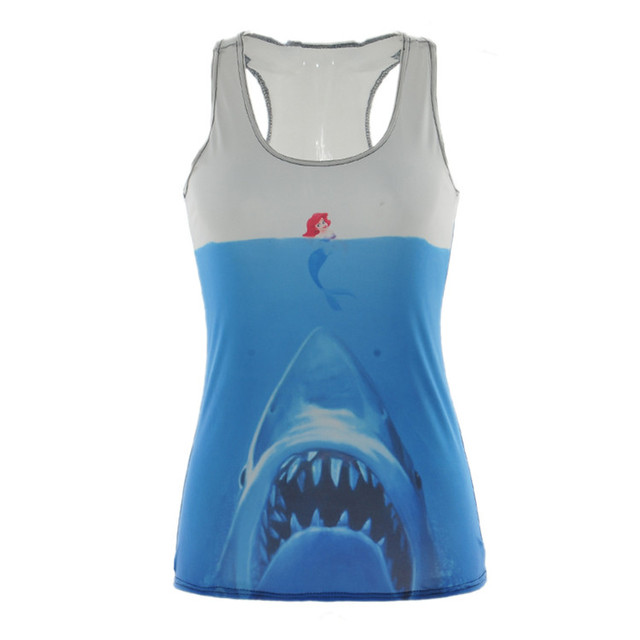 Прямая поставка летом новый 2016 женщин футболка мультфильм / акула в . с . жилет ...