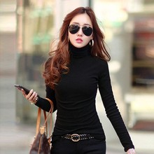 Buy Multi-colors Spring Autumn Women Tops Long Sleeve Turtleneck Women T-shirt Solid Stretch Tops Women Silm Bottoming Shirt LM93 for $3.59 in AliExpress store
