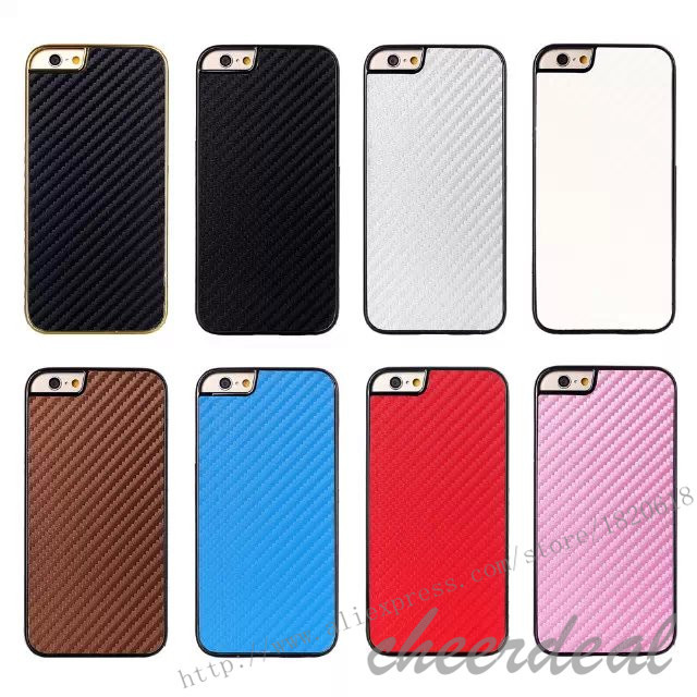 For iPhone 6 Plus Case Carbon Fiber Chromed Edge Hard Back Cover Hard Plastic Mobile Phone Protective Case electroplate Frame(China (Mainland))