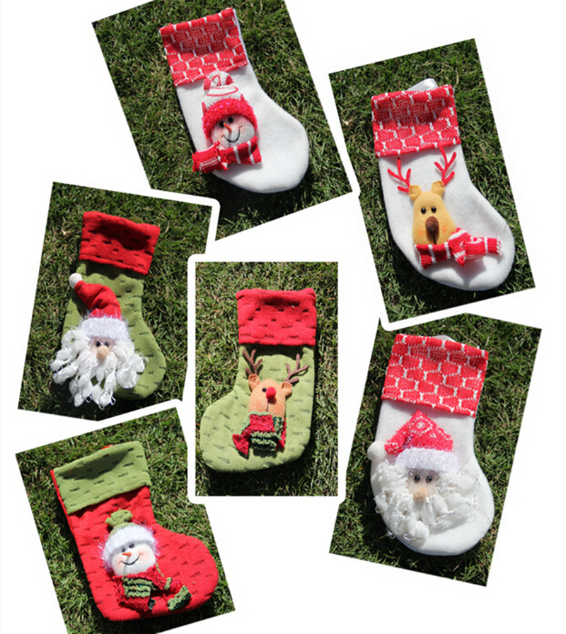 6pcs/lot Christmas Decoration Cute Santa Claus Snowman Elk Socks little Christmas gift bags for baby(China (Mainland))