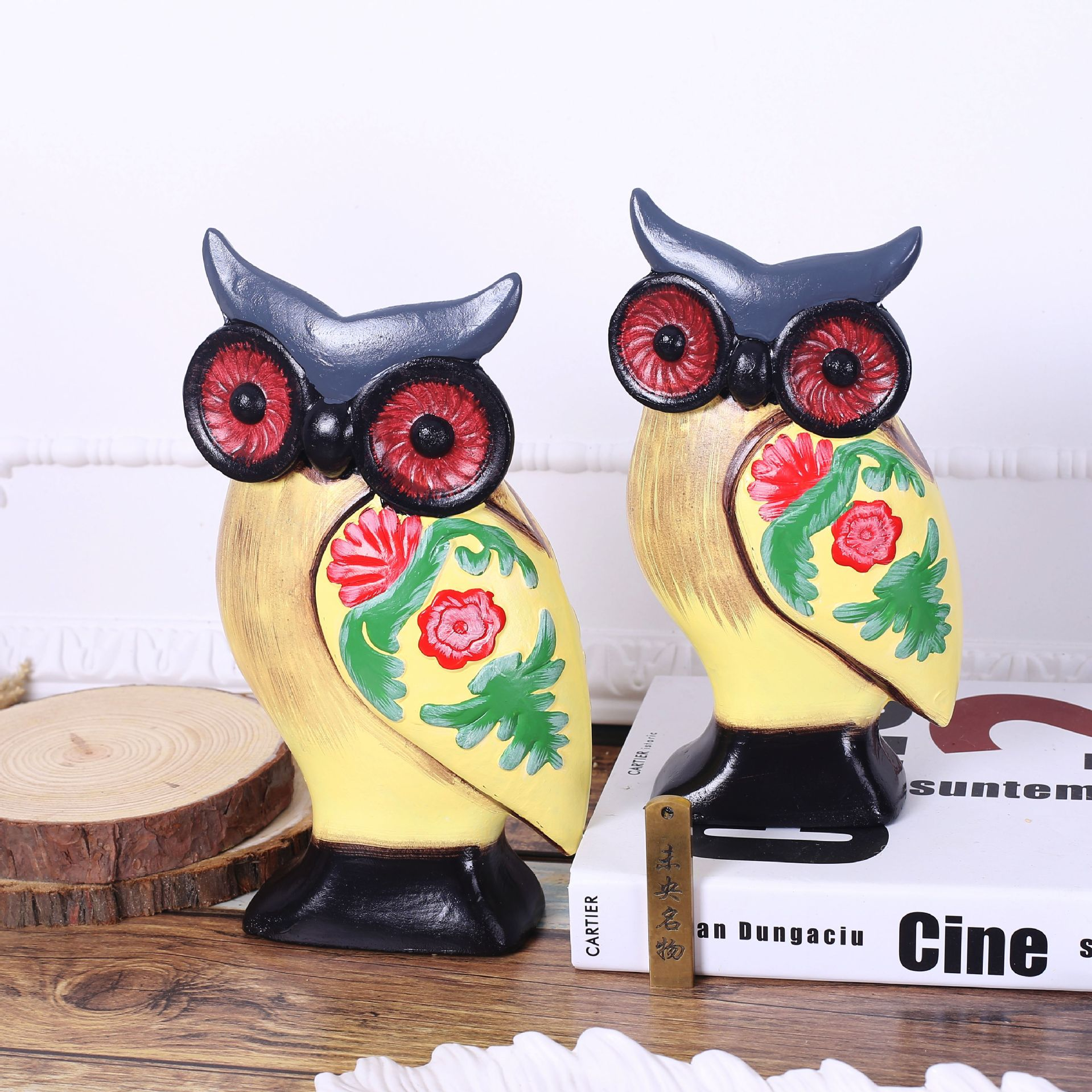 2016 new Restore ancient ways between example study owl furnishing articles bookcase wooden decoration home 2pcs/set(China (Mainland))