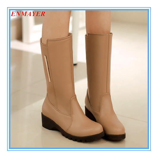 ENMAYER plus size 34-47 round toe snow boots solid 3 colors fashion wedge women boots skidproof autumn winter boots for ladies