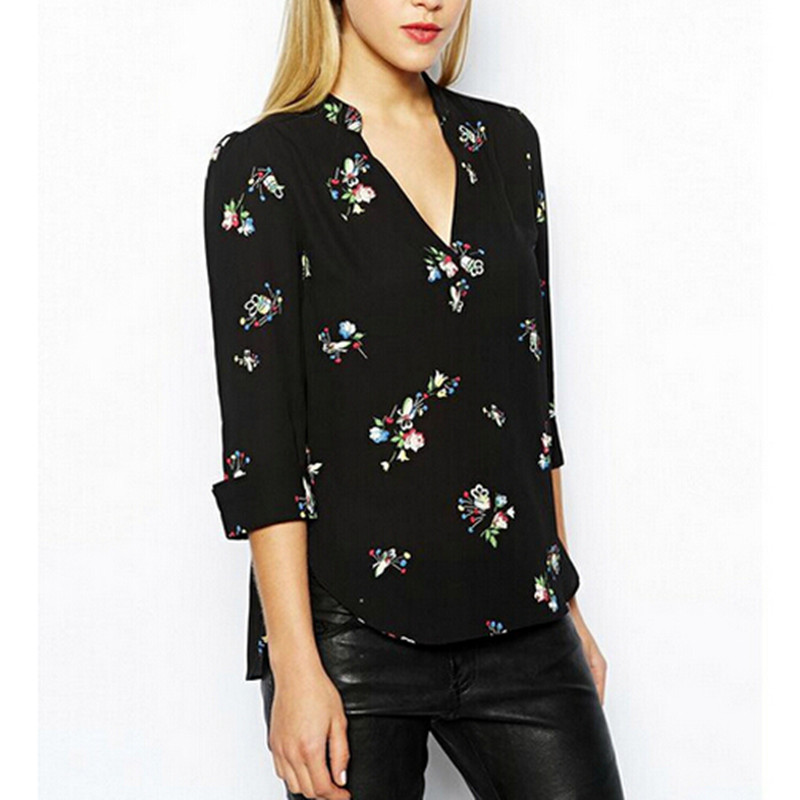 Women Casual Shirt Sexy V Neck Three Quarter Sleeve Fashion Loose Blouse Black Printing Blusas Shirts Size S(China (Mainland))