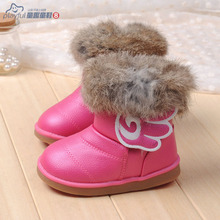 2015 child winter snow boots male female child boots wings medium-leg boots baby shoes girls boots chaussure fille botte(China (Mainland))